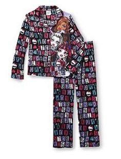 dc72e460dd MONSTER High Pajamas Girl s 6 6x NeW Button Down Shirt Pants Fleece Winter  Pjs