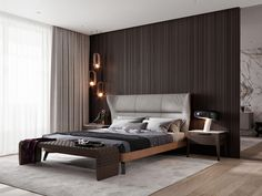 Modern Style Bedroom Design Ideas and Pictures. Contemporary and designer bedroom furniture including beds, wardrobes, chests of drawers and bedside cabinets. Modern Master Bedroom, Master Bedroom Design, Contemporary Bedroom, Home Decor Furniture, Home Decor Bedroom, Furniture Layout, Bedroom Furniture, Luxury Interior, Interior Design