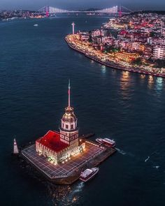 If I say this is my favorite angle of Istanbul shot with a drone, will I be torpedoed to the Maiden's Tower? The bridge and our fancy daughter … - Travel World Ramadan Kareem Pictures, Republic Of Turkey, Turkey Photos, Turkish Beauty, Beautiful Places To Travel, City Photography, Amazing Architecture, Travel Photos, Travel Ideas