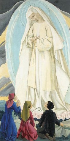 "Our Lady of Fatima by Sr Mary of the Compassion.jpg - ""The Rosary is a presence of Mary, the Refuge of Sinners, saying to us in a still, small voice what Saint Benedict says in Chapter IV of the Holy Rule, ""Child, never despair of God's mercy."" She is Mater Misericordiae, the Mother of Mercy.If you would know the mercy of God, seek to know the Mother of Mercy. She preserves sinners from the one sin that is greater than all other sins put together, that of despairing of the mercy of God."""