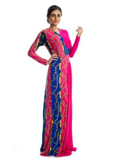 Add a splash of elegance and simplicity to your wardrobe with this multicolored maxi dress by Xela. It features a fuchsia jersey fabric designed with printed details, long sleeves and a V-neckline for the desired comfort to every woman. This dress makes perfect choice for casual outings.