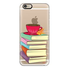 iPhone 6 Plus/6/5/5s/5c Case - Books and Tea with Leaf ($40) ❤ liked on Polyvore featuring accessories, tech accessories, iphone case, iphone cases, apple iphone cases and iphone cover case