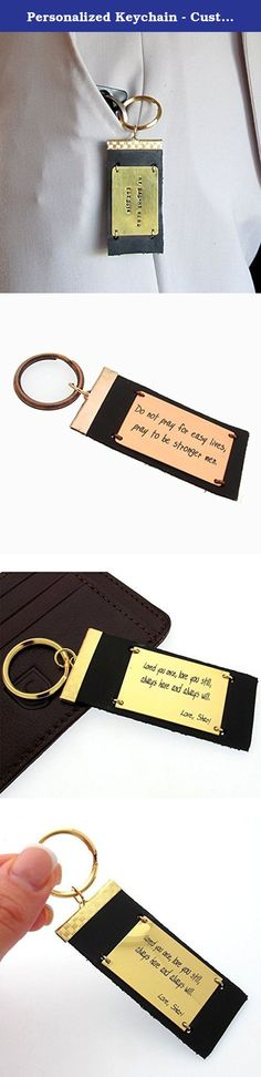 Personalized Keychain - Custon EngravedKeychain - Leather Key Chain - Mens Gift - Quote Accessory. Custom leather keychain with a gold metal plate that never changes its color. It can be be any 20 characters of your choice engraved. This can be customized with a text in some lines as well: with a motivation quote, words of love, names or GPS coordinates of a dream place! Choose unique personalized gifts for men to remember at my shop! Features: - Genuine leather Keychain - Mens accessory…