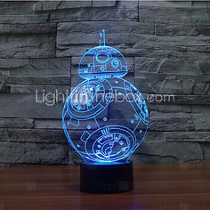 Star Wars droid Bulbing Light Toys New 7 Color Changing Visual illusion LED Decor Lamp Darth Vader Millennium Falcon Toy - Shazam Toys Bb8 Star Wars, Light Art, 3d Light, Lamp Light, Light Bulb, Lampe 3d, Glow Lamp, Star Wars Bedroom, Star Wars Room Decor