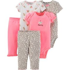 e29ecd176 Child of Mine by Carter's - Child Of Mine by Carter's Newborn Baby Girl  Bodysuits and Pants, 5-Piece Set - Walmart.com