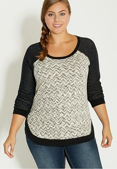 plus size pullover with chevron patterned front (original price, $39) available at #Maurices