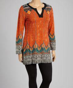 Look what I found on #zulily! Orange & Black Byzantine Notch Neck Sweater Dress - Plus #zulilyfinds