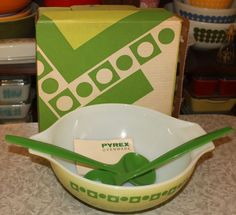 VINTAGE PYREX GREEN DOTS & SQUARES SALAD BOWL WITH BOX , FORK & SPOON! #PYREX