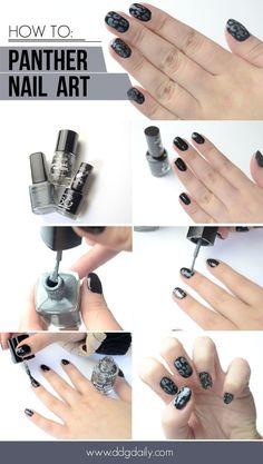Paws up: Panther nail art tutorial