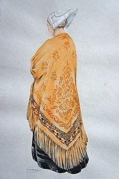 COSTUME BRETON DE  CROZON 1907 PAR LHUER, GRAVURE REHAUSSEE AU POCHOIR. 1943