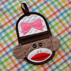 Girl Sock Monkey Doll Finger Tip Oven Mitt Oven by MarysMonkeys