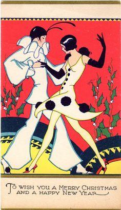 Vintage christmas postcard, Dancing flapper couple