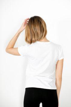 Tee-shirt blanc - Ibe   Isabelle Beretta Tee Shirts, Tees, V Neck, Boutique, Women, Fashion, Moda, T Shirts, T Shirts