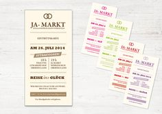 """EINLADUNG  (Eintrittskarte / Ticket) """"JA-Markt"""" von WeDo-Hochzeit auf DaWanda.com Invitation Ticket, Invitations, Wedding Decorations, Journal, Etsy, Weddings, Invites Wedding, Wedding Ideas, Projects"""