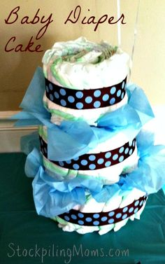 Step by Step Directions on how to make a Baby Diaper Cake for a DIY baby shower gift!