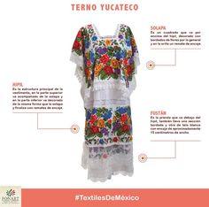 ¿Sabías que el Terno, es la prenda tradicional de las mujeres yucatecas? El terno es una variación del hipil y es una vestimenta de gala o de fiesta, está integrado por tres piezas: la solapa, el hipil y el fustán. Cada una de estas piezas está bordada en punto de cruz y los remates son de encaje.