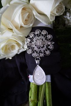 1 Rhinestone Wedding Bouquet charm pin - Photo Pendants charms for family photos for your special day by Weddingbouquetcharms on Etsy