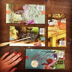 Handmade envelopes see on Paper and Ink Arts page featuring calligraphy and watercolor illustration on an envelope