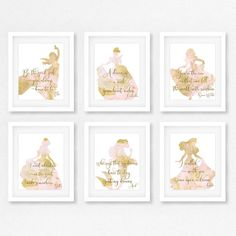 Disney princess quotes nursery Set of 6 Princess party Disney princess girls decor big girl room pink and gold gift for daughter, new baby gift, baby shower first birthday decor Disney birthday princess birthday