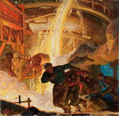 You can feel the heat in Dean Cornwell's depiction of an accident in a metal smelting factory.