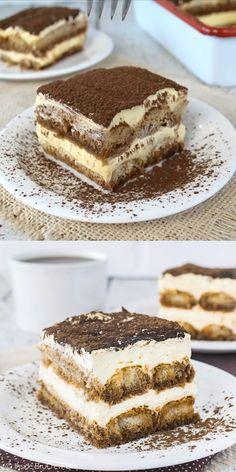 This Easy Tiramisu is a no bake dessert that will disappear in a hurry when you ., This Easy Tiramisu is a no bake dessert that will disappear in a hurry when you serve it. Layers of creamy cheesecake and coffee soaked c… in 2020 Quick Dessert Recipes, Easy Cake Recipes, No Bake Desserts, Baking Recipes, Sweet Recipes, Cookie Recipes, Baking Desserts, Baking Snacks, Baking Cookies