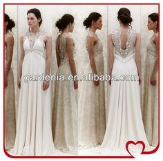 Latest Design 2014 Fashionable Flowing Chiffon V-neck Beaded Above the Waist Open Back Beautiful Pakistani Wedding Dresses
