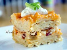 Cooking With Libby: Pierogi Casserole - lasagna noodles, mashed potatoes, herb & garlic cream cheese, green onions, bacon, cheddar