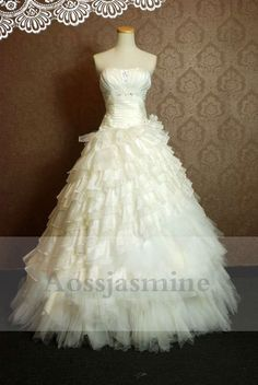 Luxurious strapless multilayer ball gown beading taffeta and tulle bridal gown