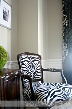 PAINT Walls are Revere Pewter Benjamin Moore & Trim is Alabaster Sherwin Williams Funky Furniture, Home Decor Furniture, Zebra Chair, Cool Chairs, Dining Room Chairs, Home Decor Inspiration, Decor Ideas, Interior Design, House Styles