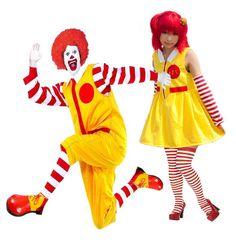 Mr & Mrs McDonald Clown Complete Fancy Dress Costume