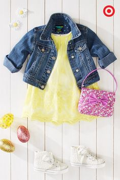 Your little girl will be the belle of the Easter brunch in this brightly colored outfit. Pop a cool denim jacket over this beautiful, embroidered mesh dress. Daisy hair barrettes, a fancy pink floral purse and awesome white kicks are the perfect springtime accessories. You know she's going to want to wear this pretty outfit every day.