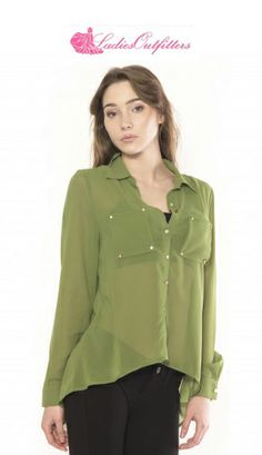 This gorgeous blouse comes with elegant front and back rhinestone studding. A sheer top, the button down blouse has a high-low hem. Chic enough to be worn to work, this blouse is the epitome of a day-to-night piece and essential to your wardrobe.   Shop now: http://www.ladiesoutfitters.com/nylon-3bl1210.html  #ladiesoutfitters #newarrivals #Nylon #studdedblouse #sheerblouse #highlowblouse #workattire #dinnerparty #casual