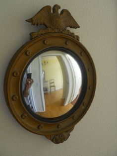 NICE--SMALL ANTIQUE C1850 - 1880 FEDERAL EAGLE WOOD & GESSO CONVEX MIRROR #Federal
