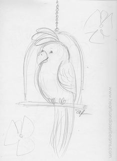 Drawing Ideas and Creativity Exercises with the Disney Classics - Tiki Room Parrot sketch by Hearts and Laserbeams