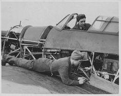 WAAF (Women's Auxiliary Air Force) Mechanics Repair Combat Aircraft ~