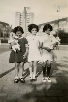 Anne Frank (right) playing with friends