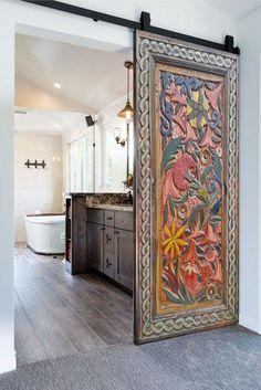 Wood Wall Art Decor, Interior Modern, Interior Design, Rustic Interior Doors, Deco Restaurant, Headboards For Beds, Interior Decorating, The Doors, New Homes