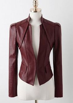wholesale Cheap Stand Collar Puff Sleeve PU Jackets Wine Red