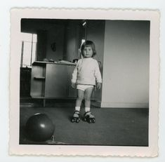 """""""I'm ready for my concussion now """" - toddler on roller skates   Vintage photo 