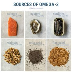 The best sources of omega 3 for a keto diet. Nutrition Chart, Vegan Nutrition, Nutrition Guide, Health And Nutrition, Health Tips, Nutrition Plans, Gut Health, Health Benefits, Health Fitness