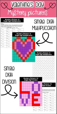 In this NO PREP product, you get two mystery pictures that are great to use on (or around) Valentine's Day.  These pictures are great for reviewing multiplication of single digit numbers and dividing by single digit numbers with single digit quotients.  This product had a Valentine's Day theme. The pictures include a mystery picture that turns into a heart and a mystery picture that spells out the word LOVE.  There are 60 problems for your students to do.