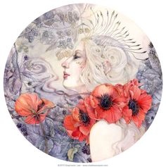 Shadowscapes - The Art of Stephanie Law - poppy flower woman watercolor painting artwork drawing