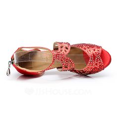 Women's Satin Heels Sandals Latin With Rhinestone Dance Shoes (053057387)