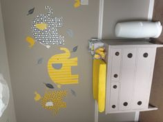 Our daughters grey and yellow nursery with pottery barn elephants