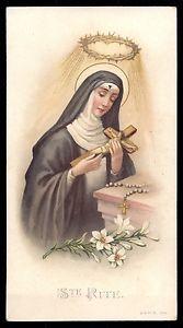 ST-RITA-OF-CASCIA-STIGMATA-w-CROWN-THORNS-Old-A-M-B-HOLY-CARD