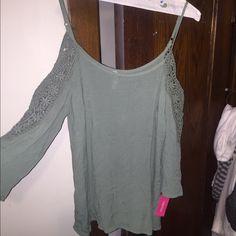 green shirt off the shoulder Tops Tunics