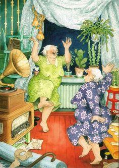 "Wall Decor-Wall Art  Print - Inge Löök's Old Ladies-Awesome Grannies-Funny Grannies Print 8 x 10"""