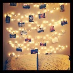 """DIY fairy light """"headboard"""", with room for some favourite photos! Dorm room idea for next year!"""