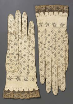 Pair of gloves, Spain, late 18th century. White leather printed with figurative motifs.