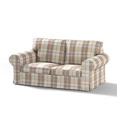 Dekoria Fire Retarding Ikea Ektorp 2-seater sofa bed cover (for model on sale in Ikea 2004-2012) - ivory & beige tartan